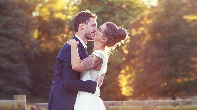 Portrait de mariés d'automne