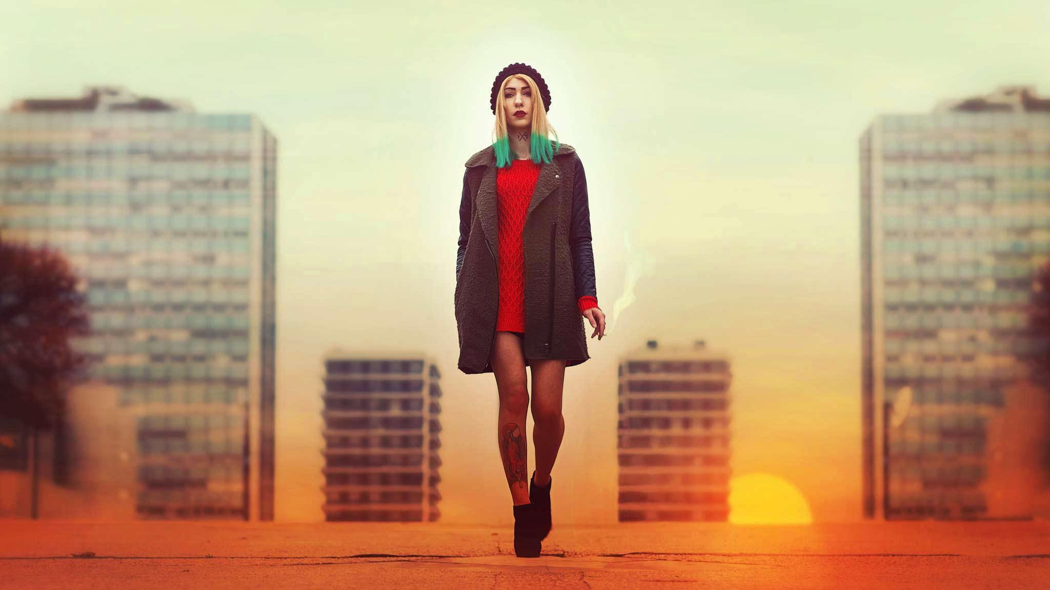 portrait alternative model cityscape dusk sunset tatooed SG Suicide Girl sexy movie french photographer art